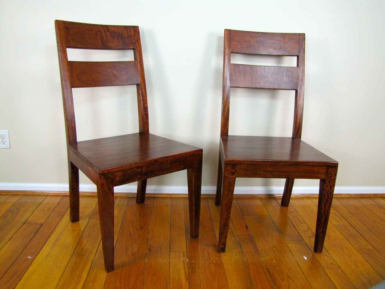Pair Of Crate And Barrel Basque Honey Side Chairs ...