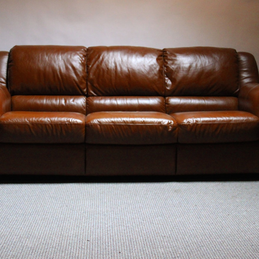 Italsofa Modern Cognac Leather Sofa