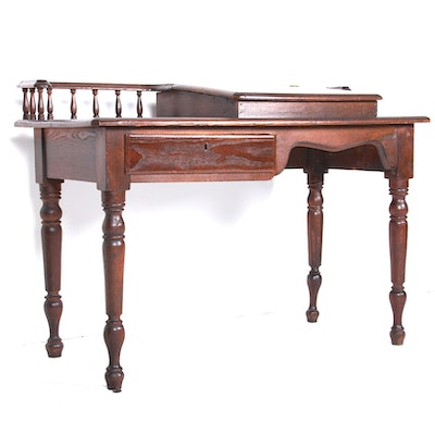 Antique Circa 1860s American Sheraton Ash Lift-Top Writing Desk - Online Furniture Auctions Vintage Furniture Auction Antique