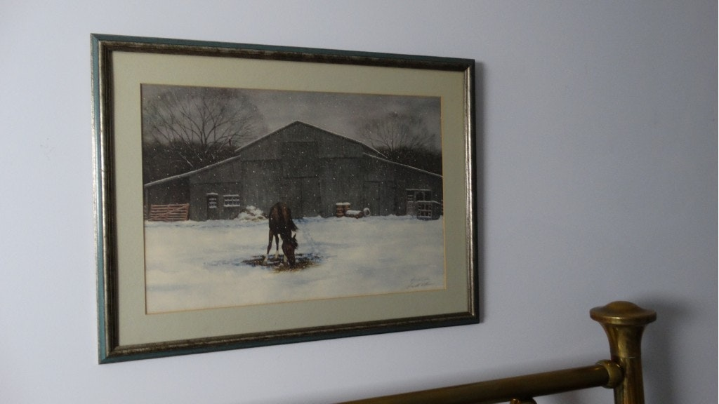 Signed Harold Collins Framed Print Quot New Snow Quot Ebth