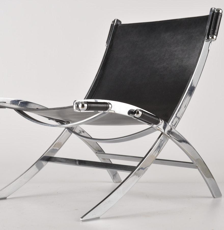 leather and chrome scissor chair ebth. Black Bedroom Furniture Sets. Home Design Ideas