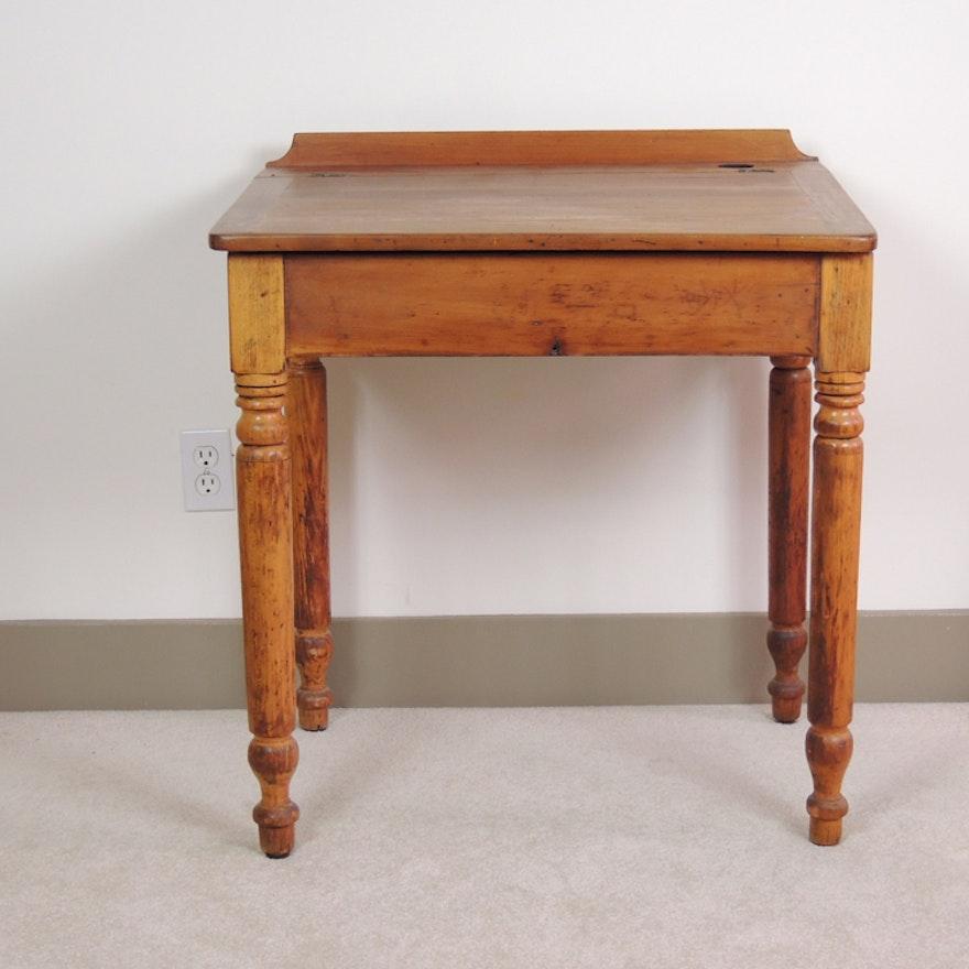 Vintage Wooden Lift-Top Student Desk ... - Vintage Wooden Lift-Top Student Desk : EBTH