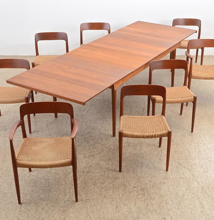 danish modern finn juhl denmark teak dining table eight