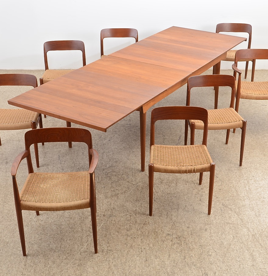 Danish modern dining room chairs - Danish Modern Finn Juhl Denmark Teak Dining Table Eight Chairs