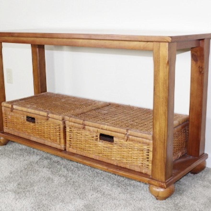 Pine Sofa Table With Wicker Storage Baskets