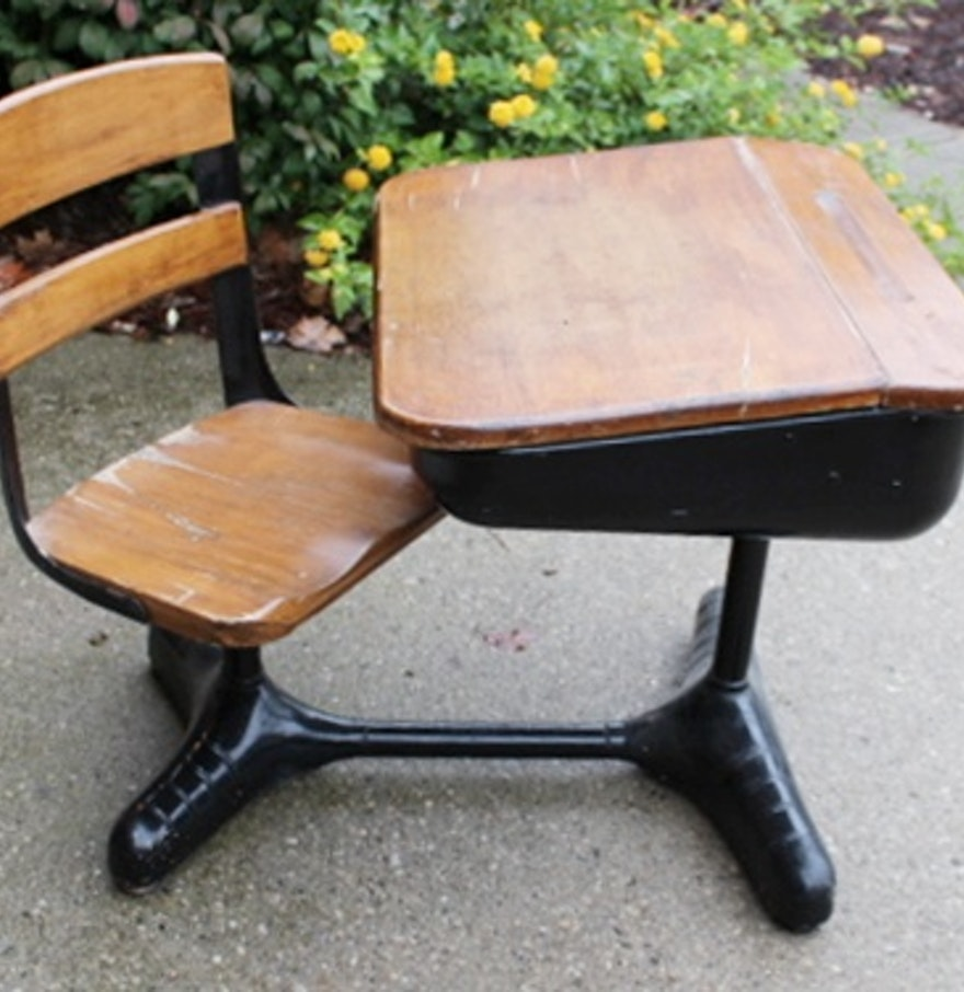 Vintage School Desk With Attached Chair Ebth