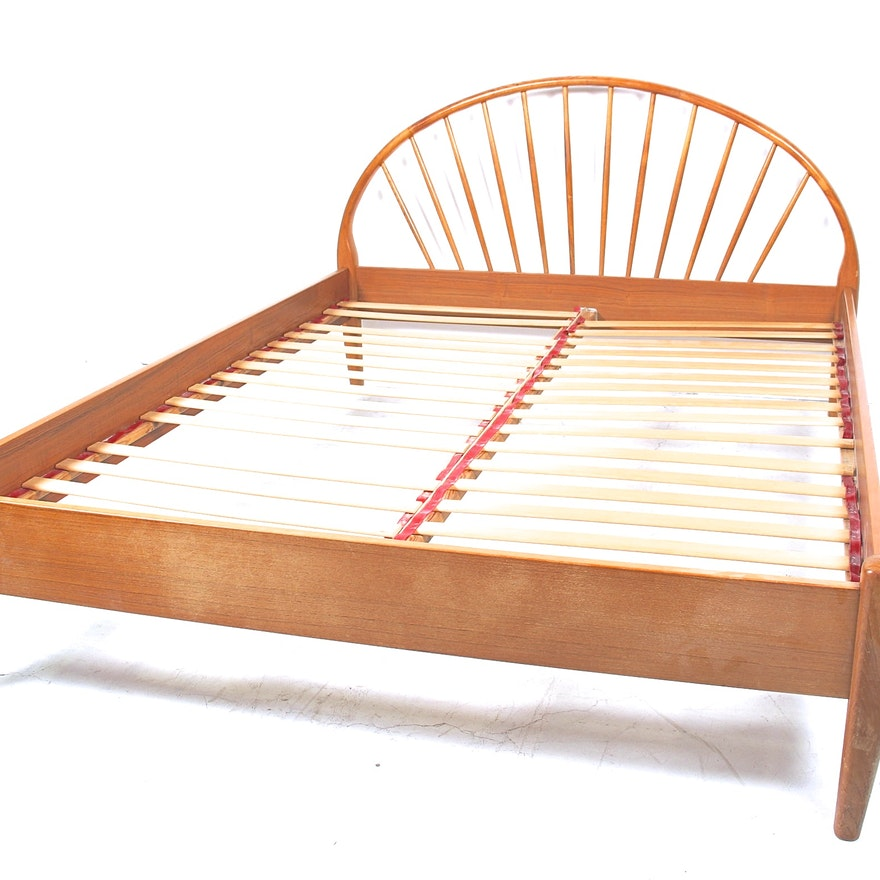 Mid Century Danish Modern Teak Queen Size Bed Frame By