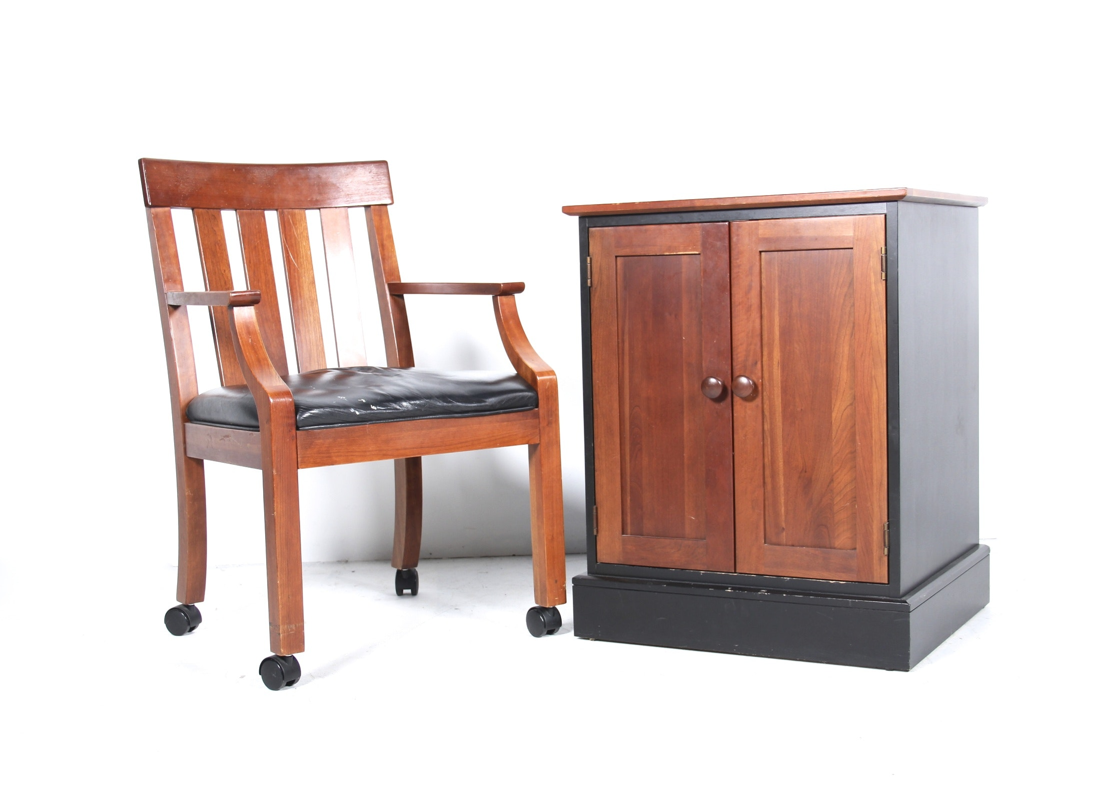 Ethan Allen American Impressions Desk Chair And Cabinet Ebth