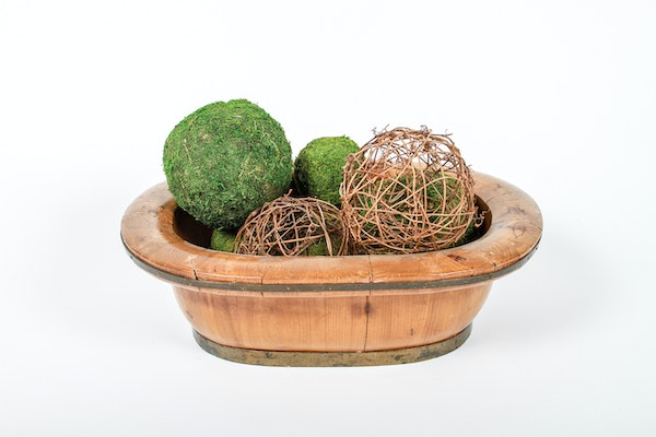Large wooden bowl with decorative twig balls ebth