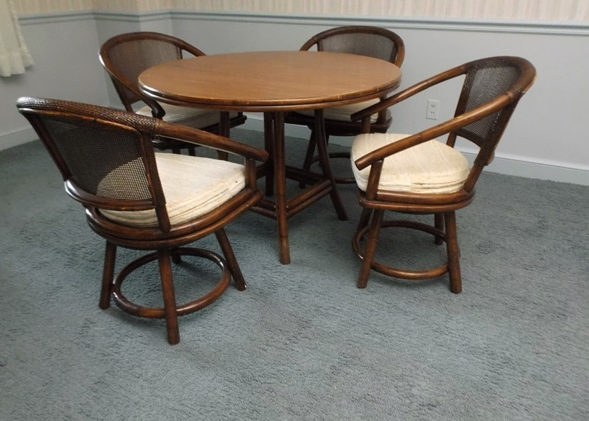 Genial Mid 20th Century Ficks Reed Rattan Dining Table And Chairs ...