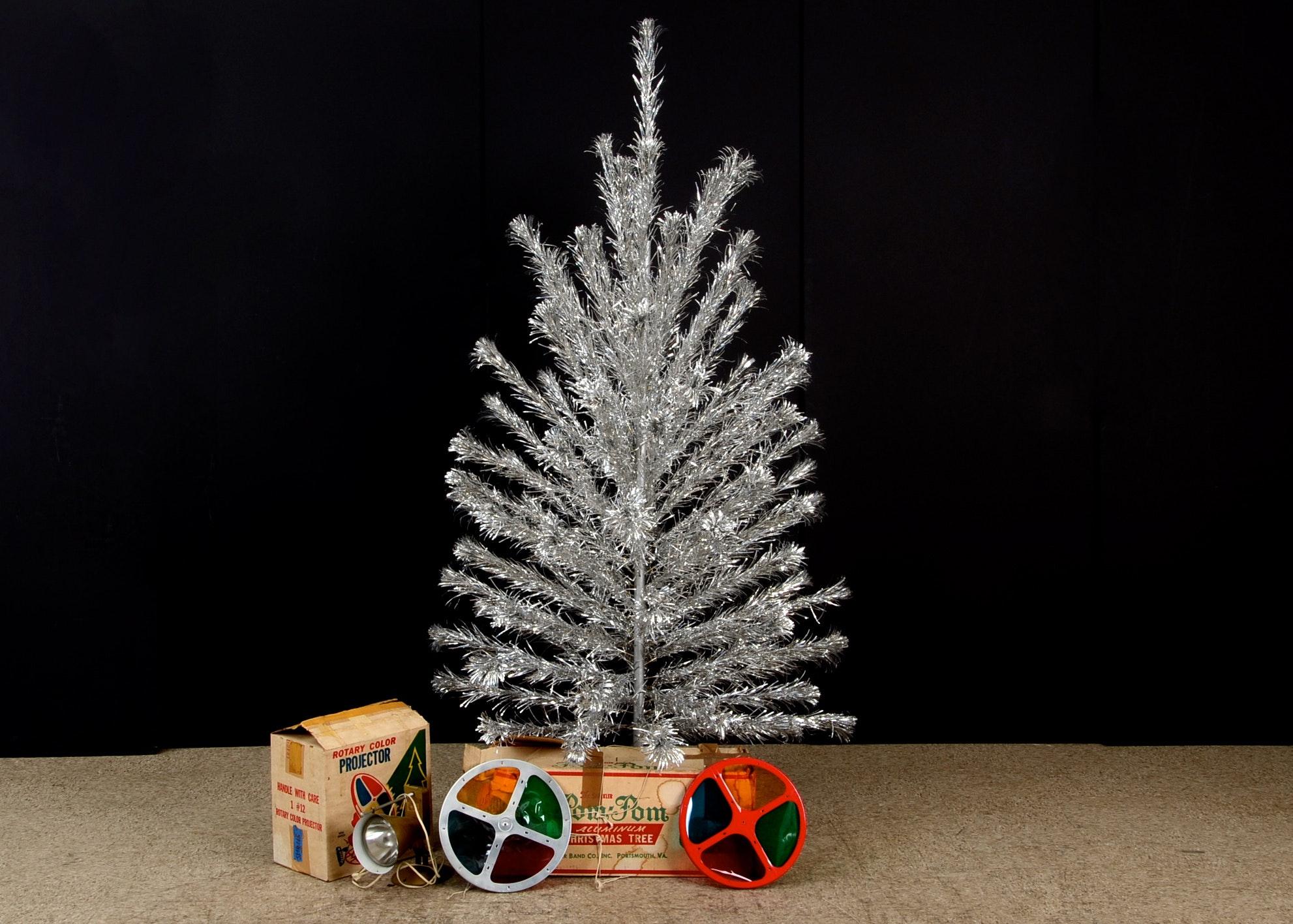 Aluminum Christmas Tree And Color Wheels Ebth