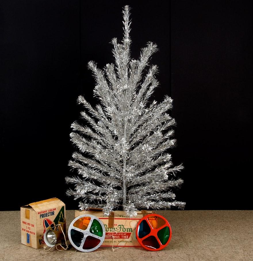 Hummel christmas tree ornaments - Aluminum Christmas Tree And Color Wheels