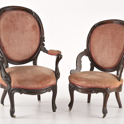 Pair of Victorian Parlor Chairs - Online Furniture Auctions Vintage Furniture Auction Antique