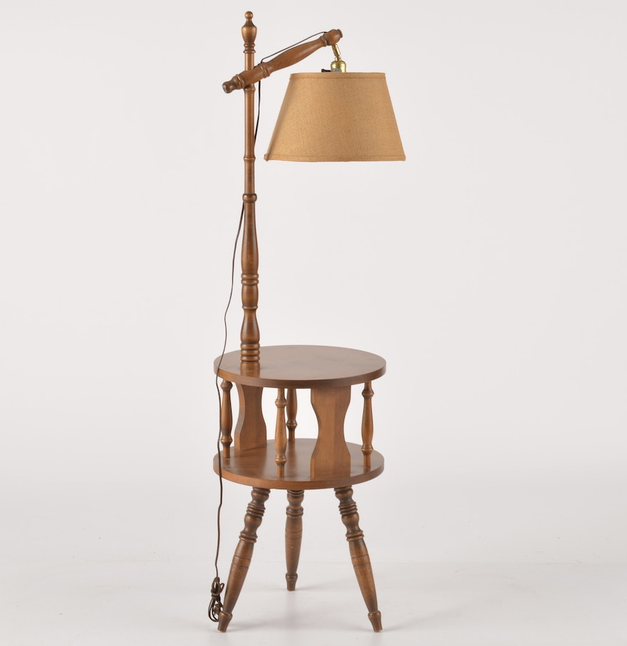 Two Tier End Table With Built In Lamp EBTH