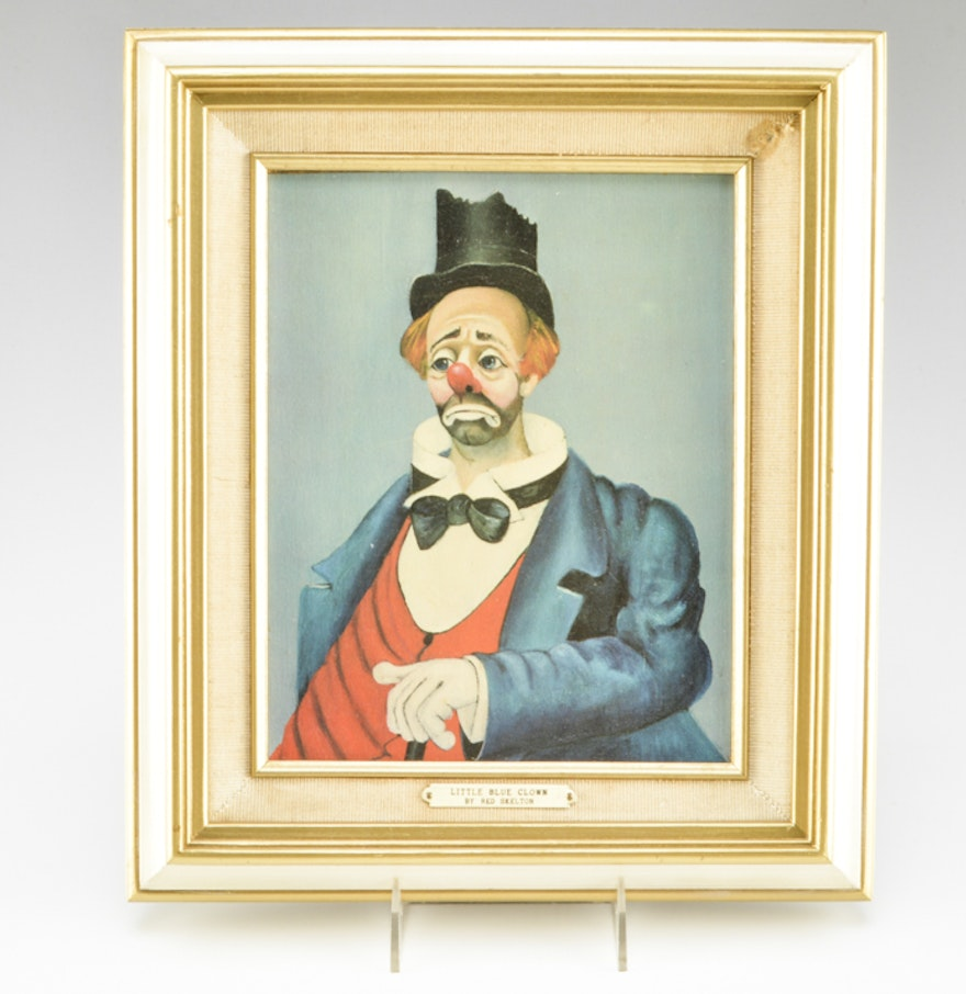 Painted Wood Clown Framed