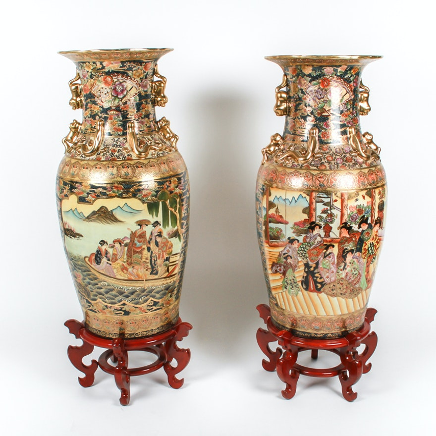 Pair Of Beautiful Large Vintage Porcelain Satsuma Temple Vases Ebth