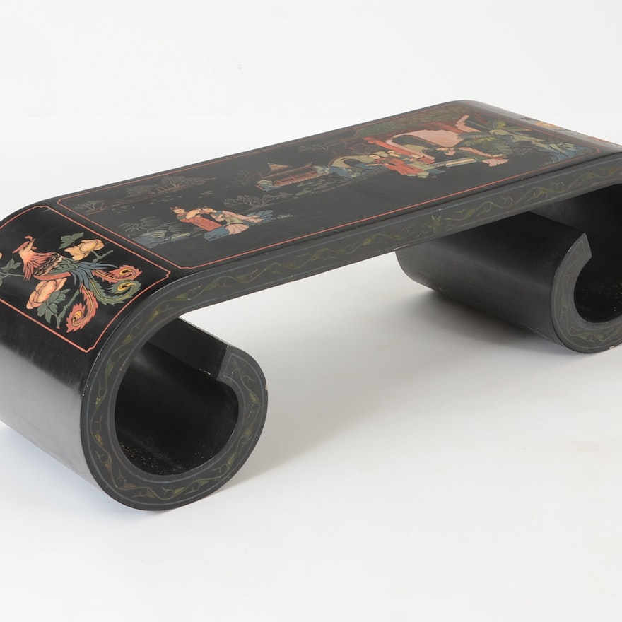 Magnificent Black Lacquer Chinese Scroll Bench Pdpeps Interior Chair Design Pdpepsorg
