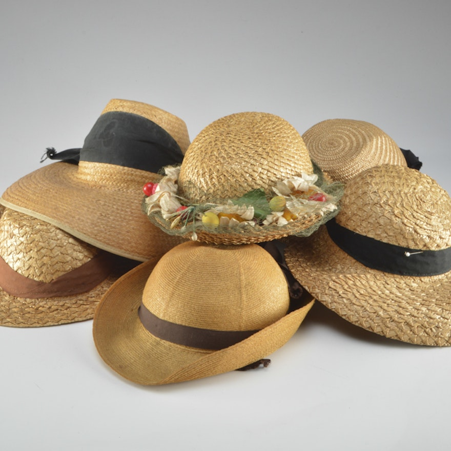 90cb0ae9511 Collection of Vintage Straw Hats   EBTH