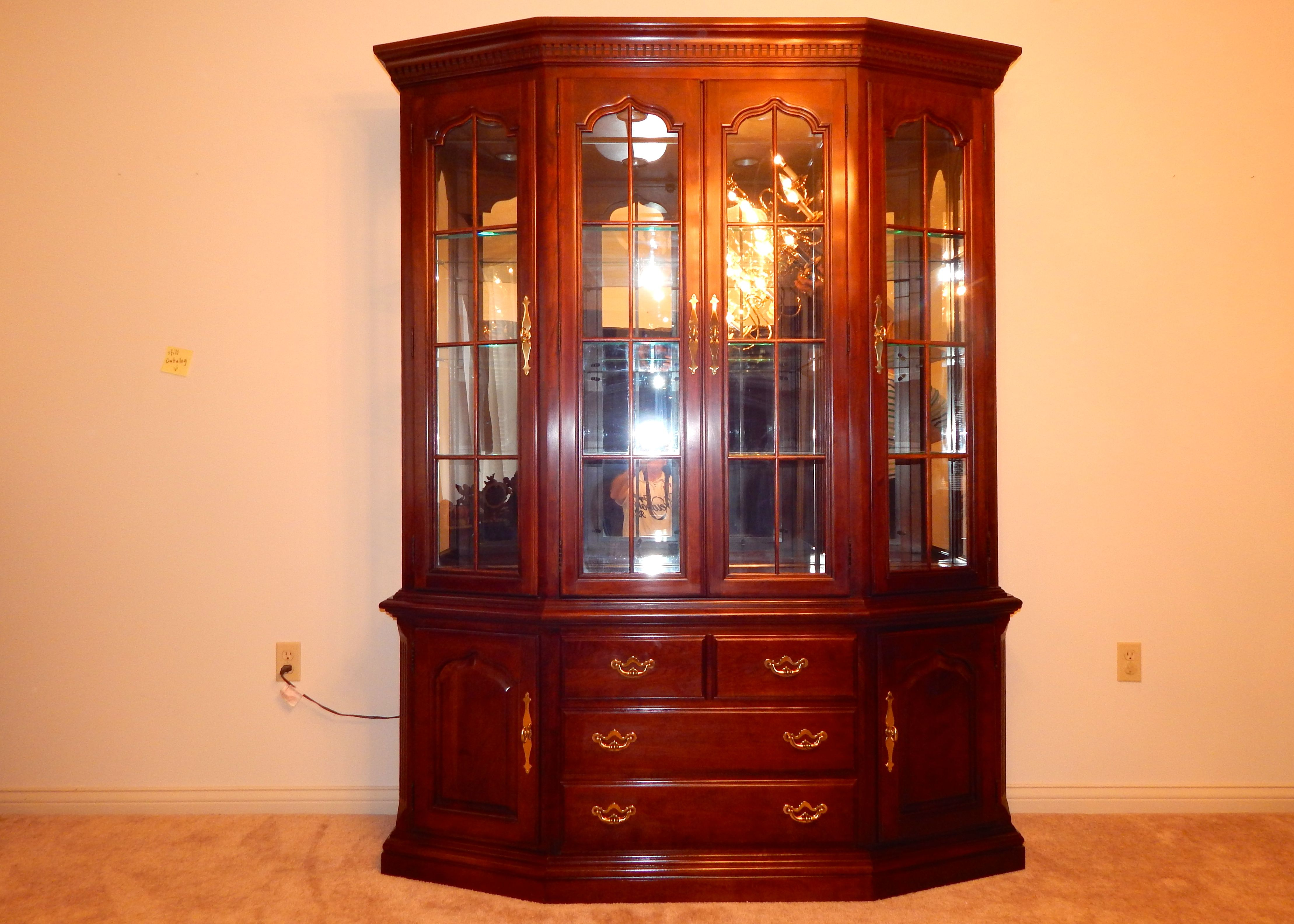 Formal Cherry China Cabinet by Thomasville : EBTH