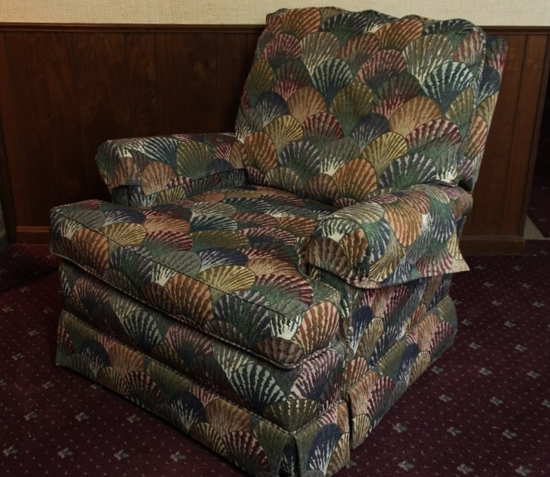 overstuffed recliner with blue teal and wine upholstery