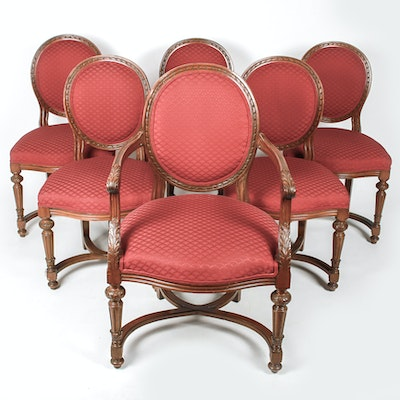 Set of Six Louis XVI Style Carved Wood Upholstered ChairsVintage Chairs  Antique Chairs and Retro Chairs Auction in  . Louis Xvi Style Furniture For Sale. Home Design Ideas