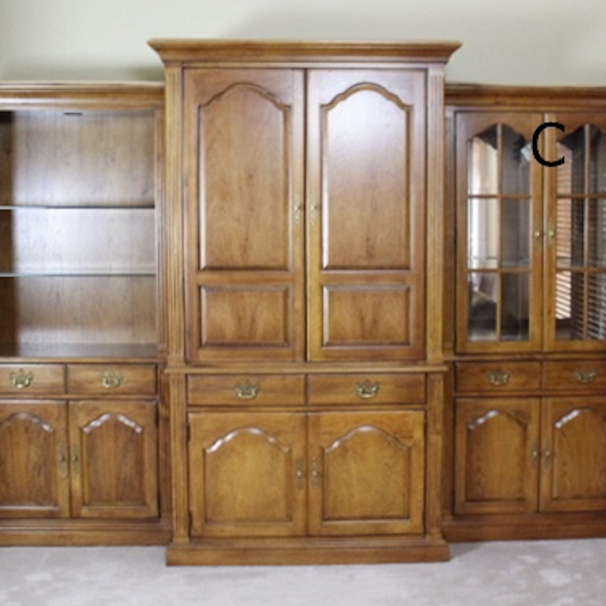 Thomasville oak pier display cabinet with glass doors c ebth thomasville oak pier display cabinet with glass doors c planetlyrics Gallery