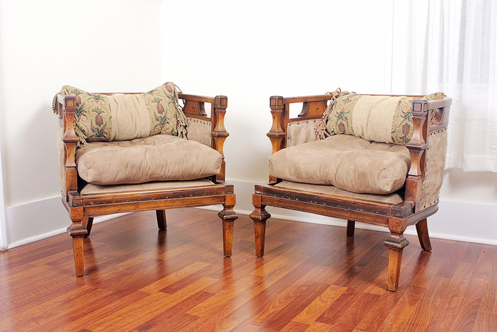 Vintage 1960s Italian Provincial Wooden Barrel Style Chairs ...