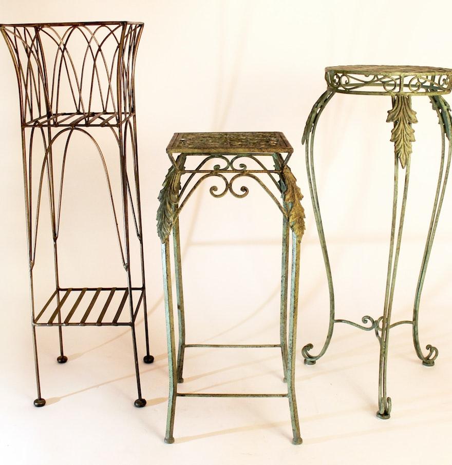 Trio Of Metal Pedestal Decorative Plant Stands