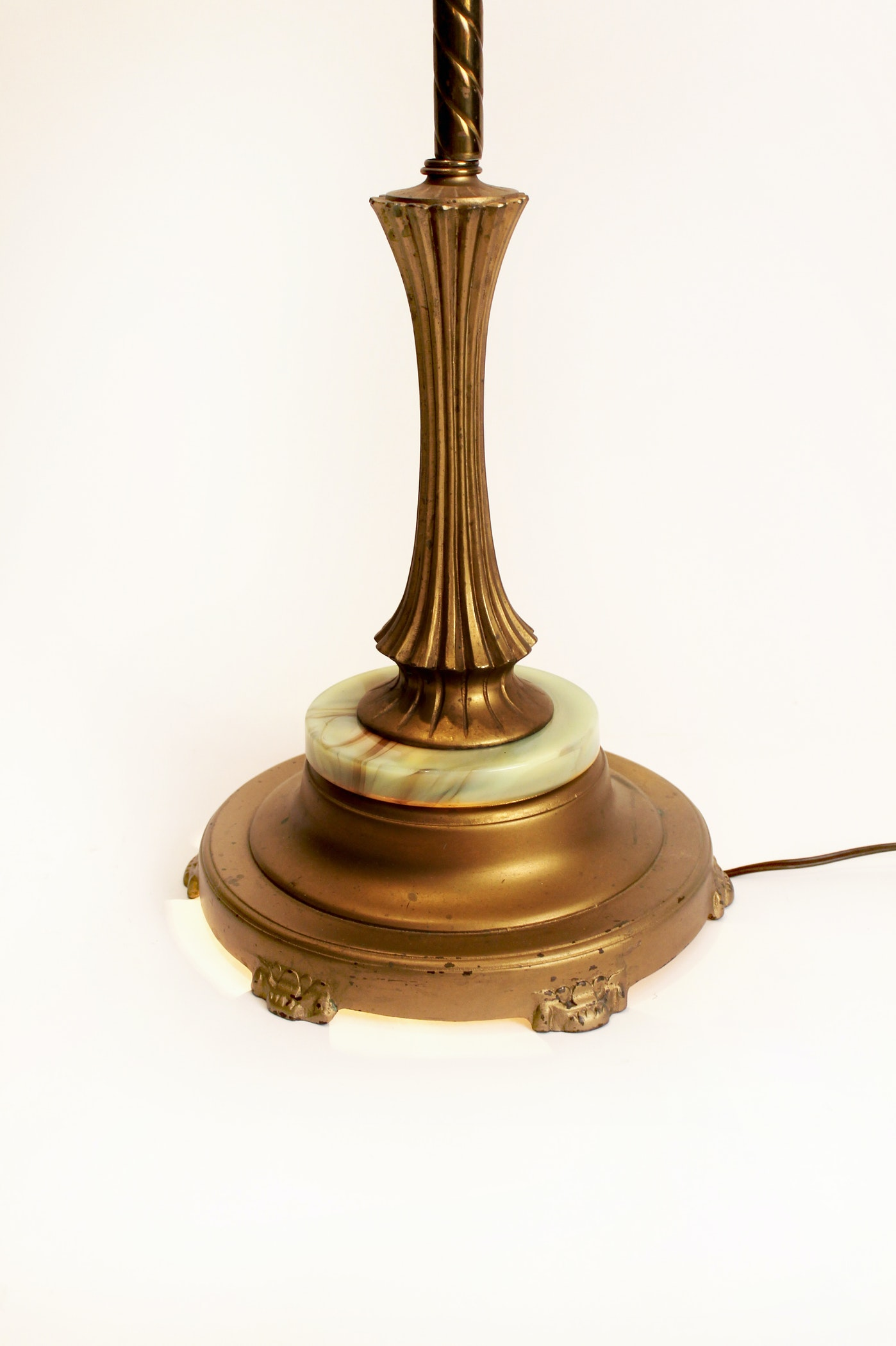 Vintage Victorian Brass Floor Lamp With Marble Base Night