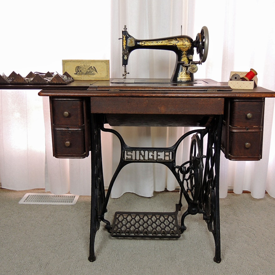 Antique Sphinx Model 40 Singer Treadle Sewing Machine and Cabinet EBTH Custom Value Of Singer Sewing Machine