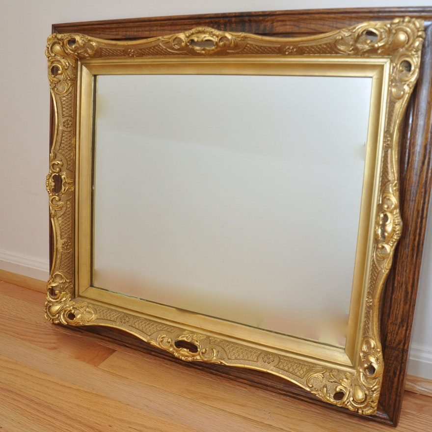 Victorian Gold Painted Mirror Mounted on Stained Wood Frame : EBTH