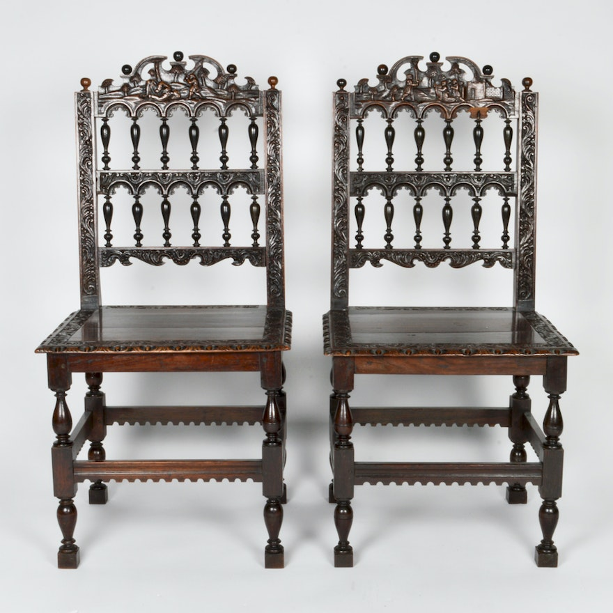 Pair of Antique Jacobean Chairs ... - Pair Of Antique Jacobean Chairs : EBTH