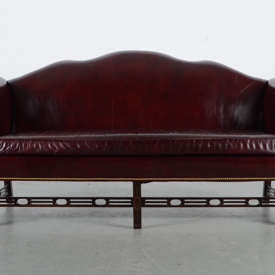 Han Moore Chippendale Style Burgundy Leather Camelback Sofa