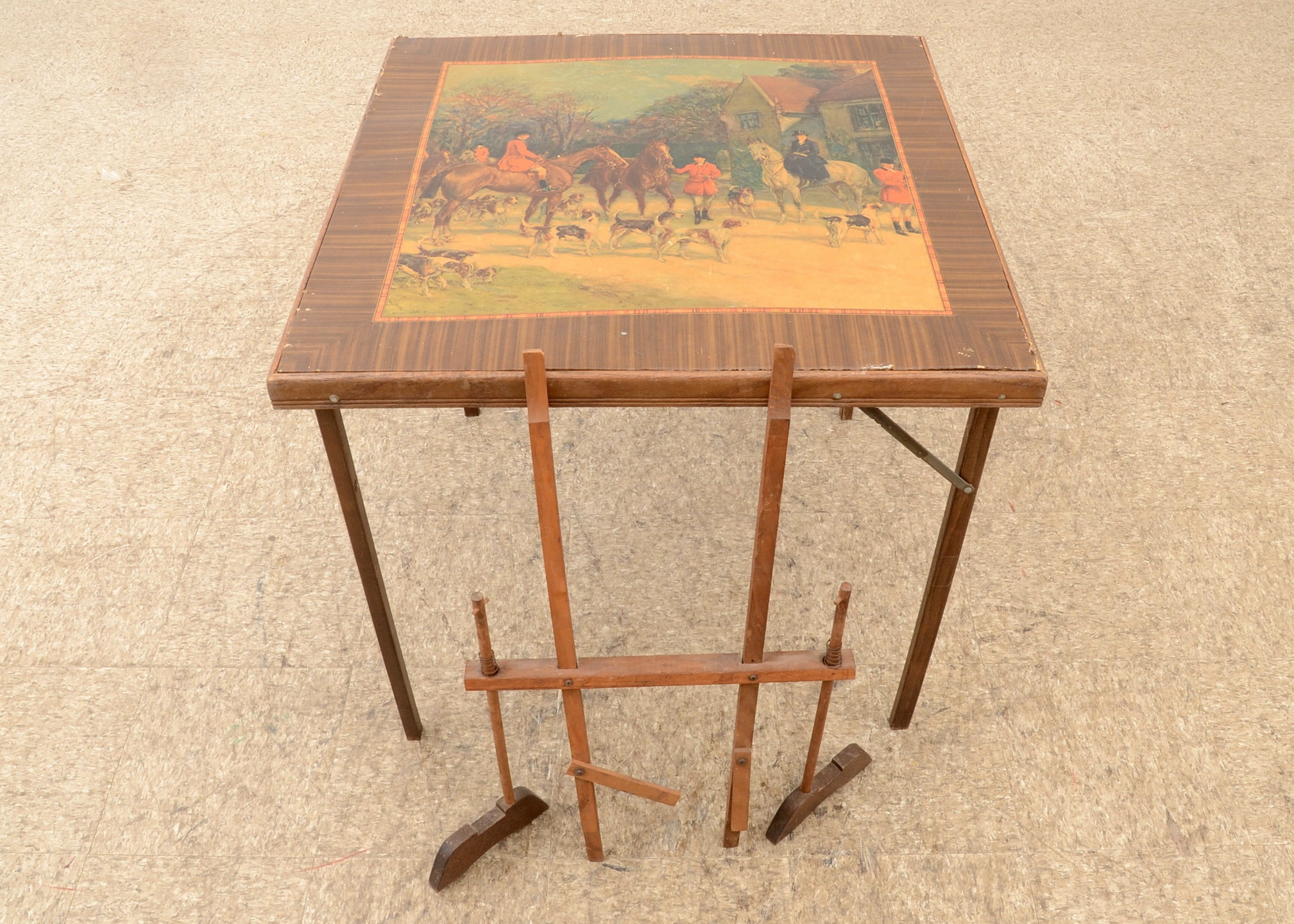 vintage fox hunting card table fireplace screen ebth