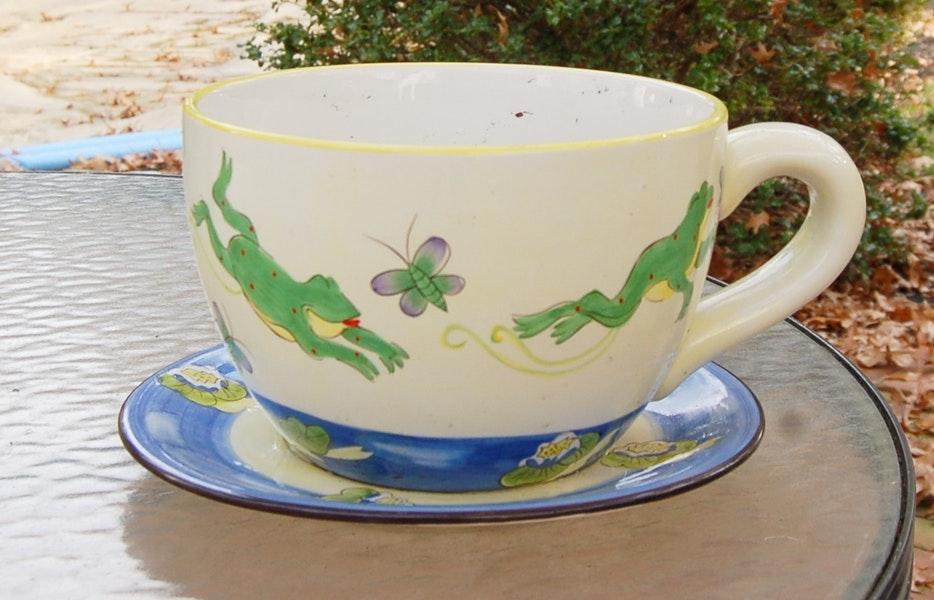 Large Tea Cup And Saucer Planter Ebth