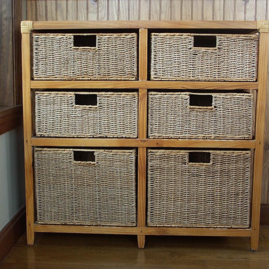 contemporary rattan basket storage unit ebth. Black Bedroom Furniture Sets. Home Design Ideas