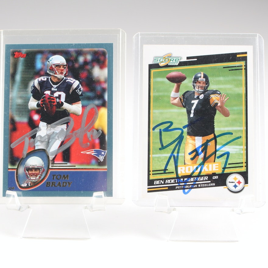 Ben Roethlisberger And Tom Brady Signed Football Cards