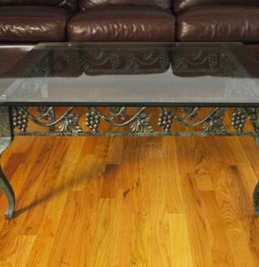 Square cast iron glass top coffee table with grape motif for Cast iron table with glass top