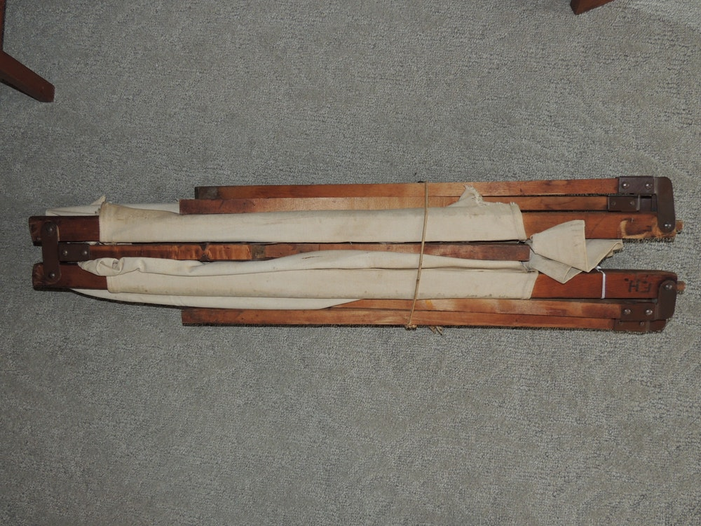 WWII Canvas and Wood Folding Military Cot   EBTH