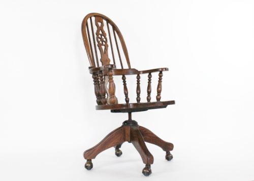 oak high back windsor style rolling office chair vintage chairs for sale