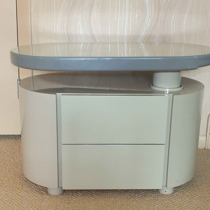 Contemporary Lacquer Side Table With Adjule Swivel Top
