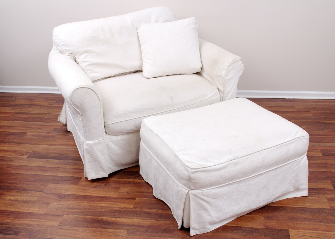 Arhaus Chair And Ottoman With Camden Collection Slipcovers