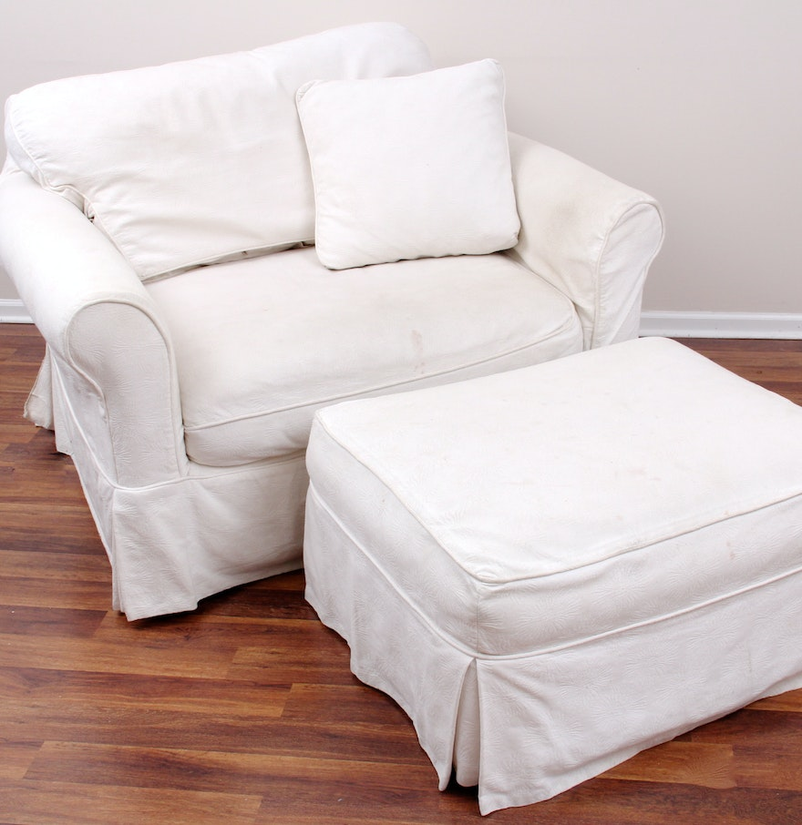 Chair and ottoman slipcovers best design set oversized for Best chair and ottoman