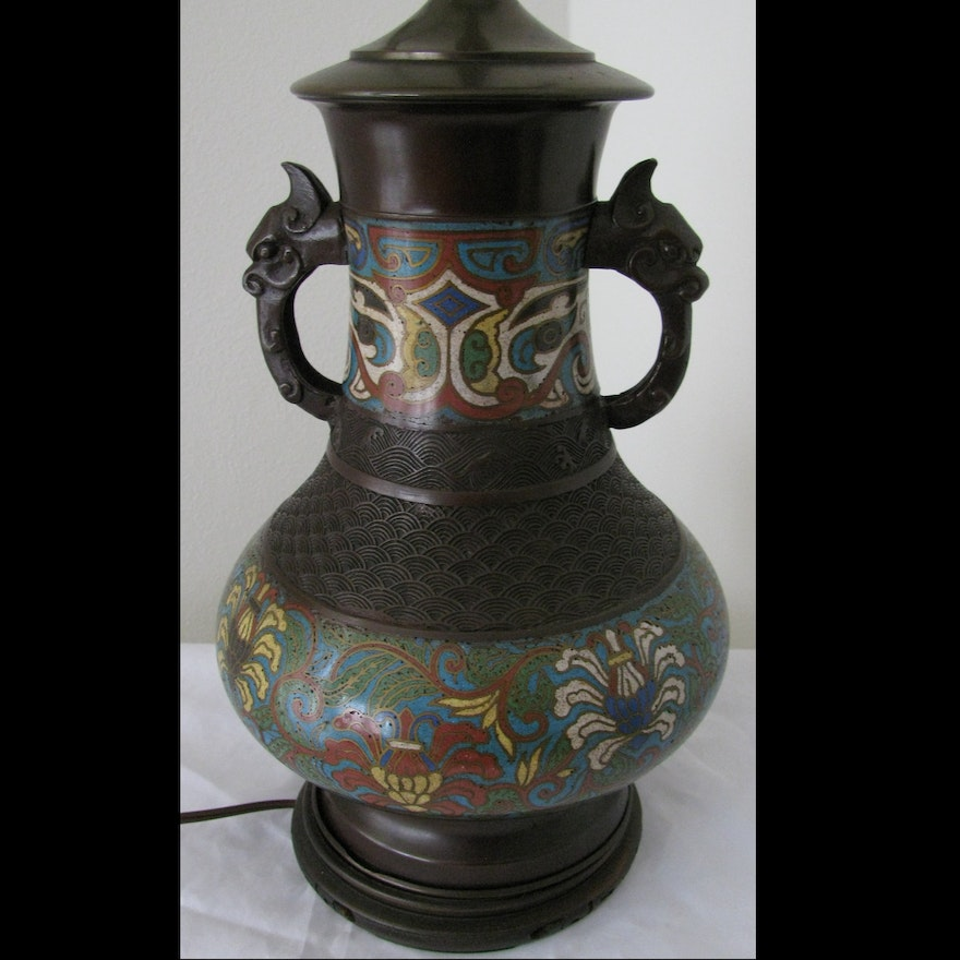 Antique Chinese Bronze Champleve Lamp Ebth