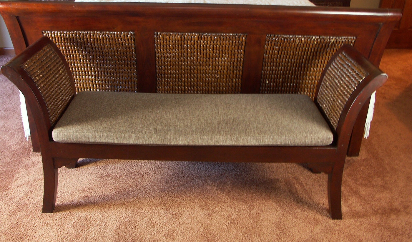 Contemporary Pier 1 Rattan And Wood Bedroom Bench Ebth