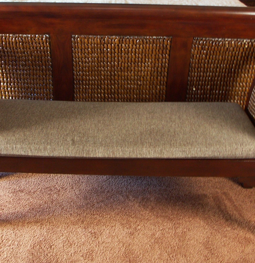 Contemporary Pier 1 Rattan And Wood Bedroom Bench : EBTH