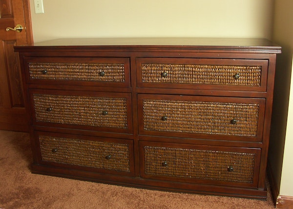 Contemporary pier 1 rattan and wood dresser ebth for Pier one wicker bedroom furniture