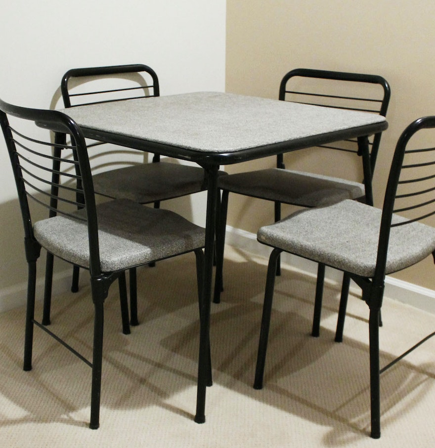 vintage cosco fashion fold mid century card table and chairs ebth. Black Bedroom Furniture Sets. Home Design Ideas