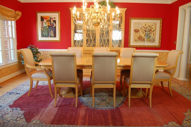 henredon charles x burled elm dining room table and