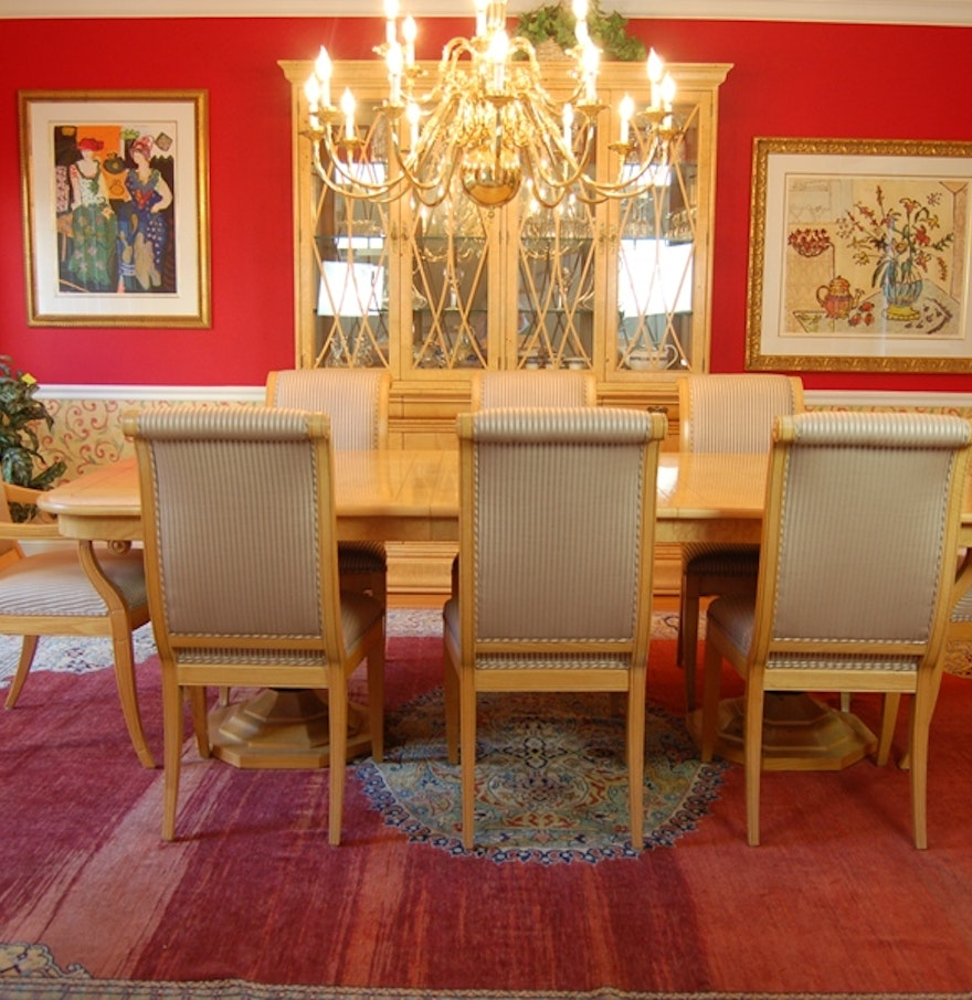 henredon charles x burled elm dining room table and chairs ebth